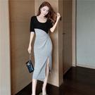 VK精品服飾 韓國風包臀短裙顯瘦拼接休閒開叉短袖洋裝