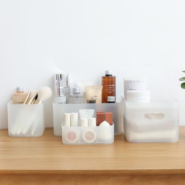 【BlueCat】磨砂白色文具雜物長方形桌面收納盒 (2格) 筆筒