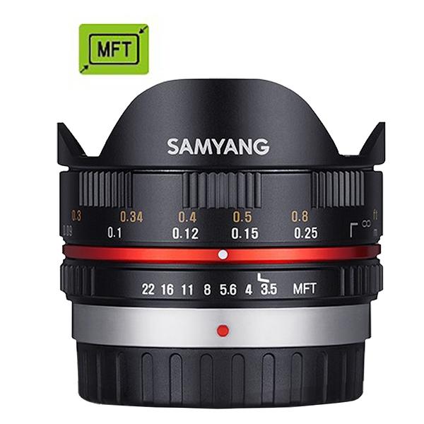 【聖影數位】SAMYANG 三陽 7.5mm F3.5 UMC Fish-eye MFT 手動 M4/3 微單眼鏡頭 (黑色) (公司貨)
