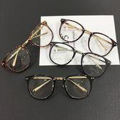 現貨-日本韓國型男正妹復古平光時尚造型鏡框方框個性金屬框膠框鼻墊黑色茶色玳瑁色眼鏡43