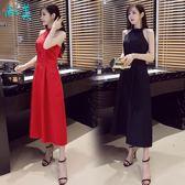 連身裙掛脖長裙女裝時尚性感露腰修身顯瘦收腰洋裝氣質小禮服萬聖節,7折起