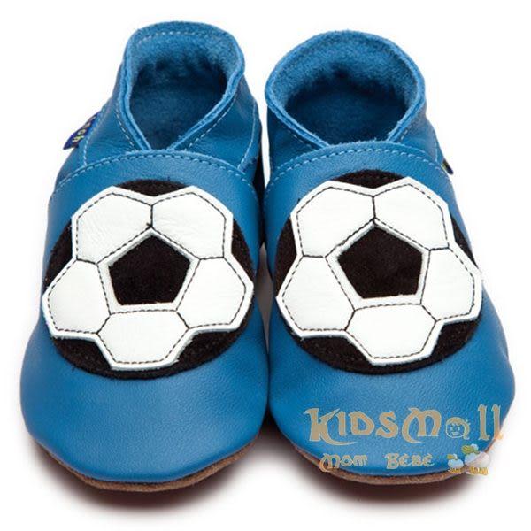 英國製Inch Blue,真皮手工學步鞋禮盒,Football-Blue