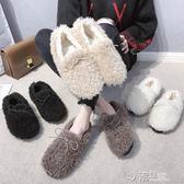 白色毛毛鞋女冬新款網紅加絨棉鞋外穿豆豆鞋時尚羊羔毛一腳蹬 沸點奇跡