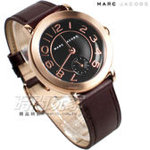 MARC JACOBS 精品錶 小秒盤簡約時尚 玫瑰金電鍍 咖啡皮帶 女錶 MJ1470