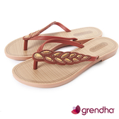 GRENDHA 黃金麥穗人字帶夾腳鞋-褐色