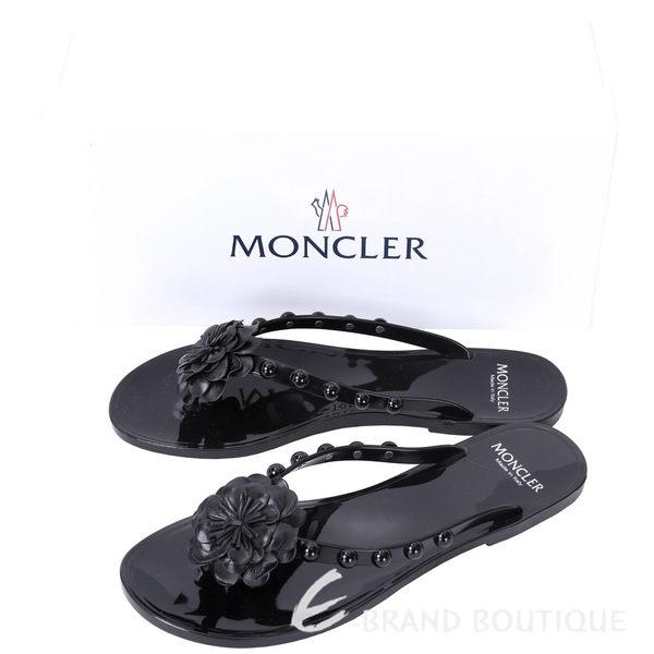 MONCLER NEW LYDIE 花朵鉚釘飾PVC夾腳拖鞋(黑色) 1620631-01