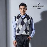 Emilio Valentino范倫鐵諾學院風絲光羊毛背心 (深藍)