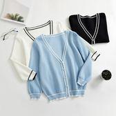 黑五好物節 空調衫女夏季18新款冰爽絲七分袖外套薄款V領上衣短款針織衫開衫