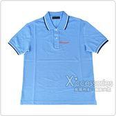 PRADA經典橡膠LOGO深藍白設計純棉短袖POLO衫(淺藍)