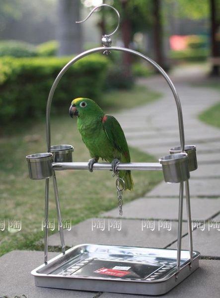 鳥籠鸚鵡籠站架-不銹鋼便攜型寵物用品【G06型+小腳鏈】CW-86015