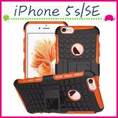 Apple iPhone5/5s/SE 輪胎紋手背蓋 全包邊手機套 矽膠保護殼 帶支架保護套 PC+TPU手機殼 蜘蛛紋