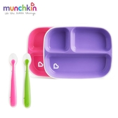 munchkin滿趣健-防滑三格餐盤2入-粉/紫+矽膠湯匙2入-粉/綠