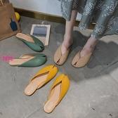 YoYo 魚嘴外穿涼拖鞋女 平底包頭半拖鞋穆勒鞋(3色)J1030