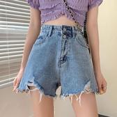 泫雅風牛仔褲夏季褲子寬鬆高腰破洞牛仔短褲女2020新款熱褲潮ins 貝芙莉