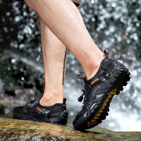 夏季速幹溯溪鞋男士兩棲涉水鞋戶外防滑徒步登山透氣網鞋 第一印象