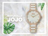 【時間道】NATURALLY JOJO  時尚典雅晶鑽仕女腕錶 / 白蝶貝面半陶瓷帶(JO96924-81R)免運費