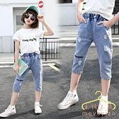降價兩天 女童牛仔褲 2020新款夏裝 洋氣 中大童 韓版薄款七分褲小學生女孩中褲