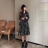 洋裝秋裝新款法式復古碎花洋裝女秋冬收腰顯瘦氣質女裝長款裙子 新北購物城
