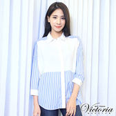 Victoria 條紋拼接寬鬆九分袖襯衫-女-水藍底白條