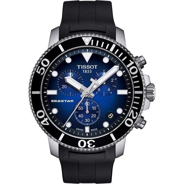 TISSOT 天梭 Seastar 1000 海洋之星300米潛水計時錶-藍x黑/45mm T1204171704100