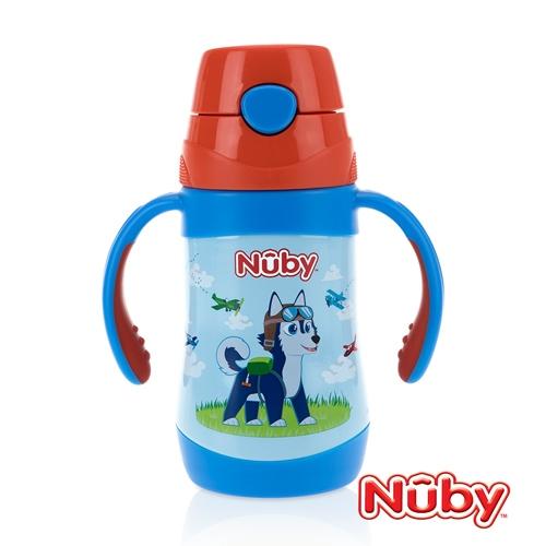 Nuby不鏽鋼真空學習杯(細吸管)-領航犬 280ml
