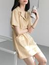 EGGKA法式復古連身裙女夏小個子紅色西裝領襯衫裙a字收腰顯瘦氣質 潮人