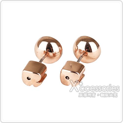 kate spade Reflecting pool系列黑桃LOGO簡約設計鑽鑲飾穿式耳環(玫瑰金x白)