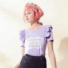 【SHOWCASE】立體花邊造型短袖棉質T恤(紫)