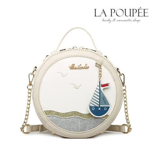 側背包  海洋協奏曲帆船吊飾小圓包 2色-La Poupee樂芙比質感包飾 (現貨+預購)