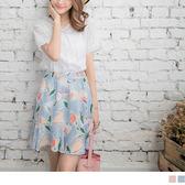 OrangeBear《CA749》腰圍鬆緊彩繪花朵印花A字裙.2色--適 XL~6L