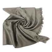【COACH】經典COACH LOGO 羊毛混桑蠶絲流蘇絲巾圍巾(灰)