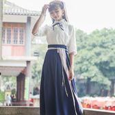 古裝漢服民族風女裝套裝日常漢服民國學生漢元素齊腰襦裙學生裝 茱莉亞嚴選