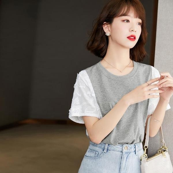 短袖T恤上衣S-2XL夏季法式復古甜美刺繡拼接短袖T恤T604紅粉佳人