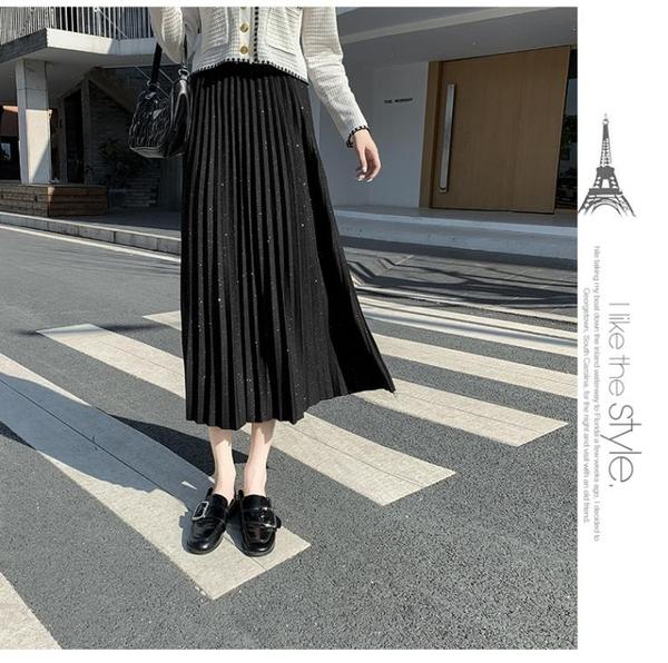 大尺碼女裝大碼女裝亮片半身裙女2020秋季新款胖mm寬松高腰顯瘦遮肚百褶裙子