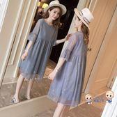 洋裝  孕婦洋裝仙女超仙雪紡哺乳衣服夏季外出時尚寬鬆孕婦裝夏天裙子 2色