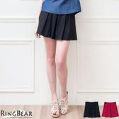 質感褲裙--青春洋溢A-line高腰彈性百摺褲裙(黑.紅XL-5L)-R164眼圈熊中大尺碼◎