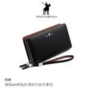 【愛瘋潮】WilliamPOLO 簡約方紋手拿包 皮夾 長夾 牛皮 可插卡
