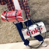 韓版時尚旅行包女手提大容量短途健身包字母可樂單肩包男運動包潮『櫻花小屋』