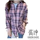 EASON SHOP(GW2369)韓版撞色格紋薄款長版前短後長單口袋前排釦長袖襯衫外套女上衣服落肩寬鬆防曬衫