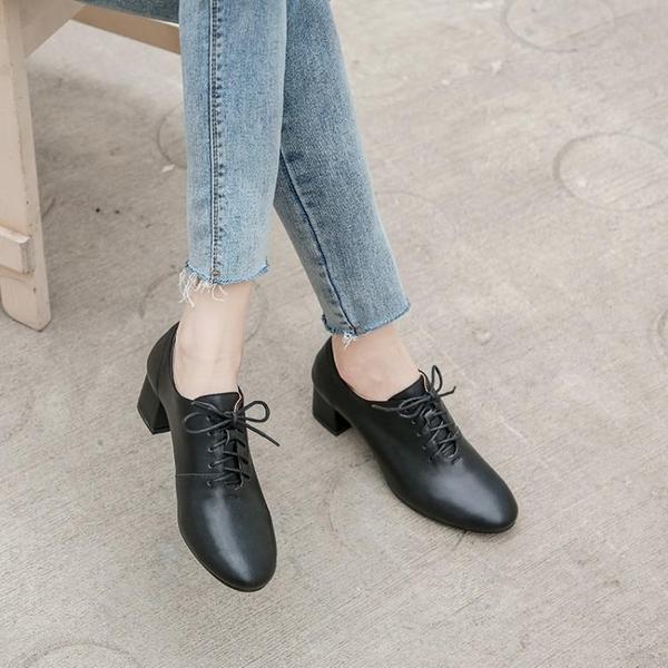 高跟鞋女鞋2020秋冬粗跟單鞋秋款高跟鞋LX新品