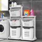 Mr.box【024135-01】北歐風雙向取物二層洗衣分類收納籃-附輪