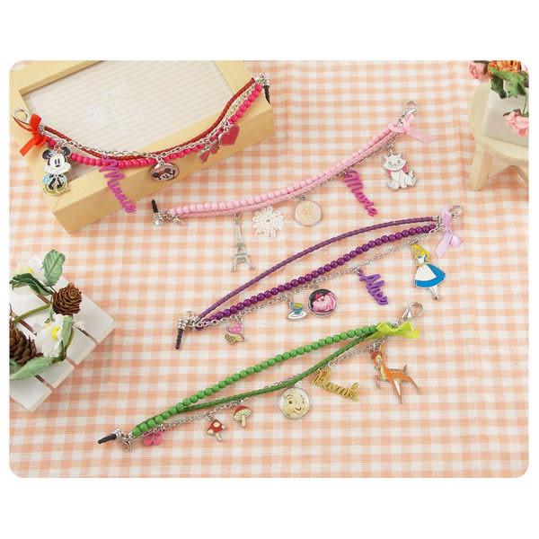 【Disney 】時尚造型五金珠鍊防塵塞吊飾-米妮/愛麗絲/斑比/瑪麗貓