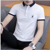 夏裝男新款短袖男T恤翻領青年學生潮流半袖男Polo衫上衣服潮