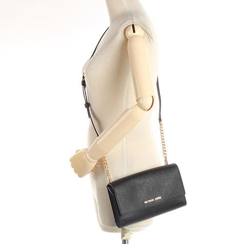MICHAEL KORS JET SET TRAVEL防刮皮革鍊帶斜背包(附手拿包)(黑色)611323