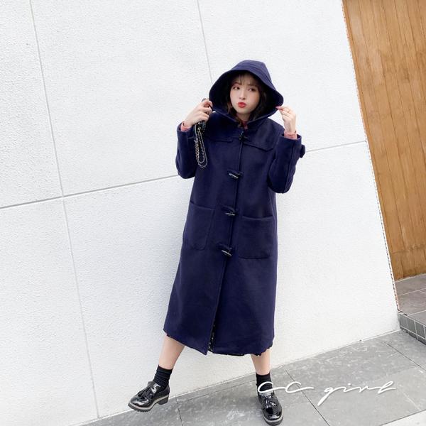 中大尺碼  連帽牛角釦毛呢大衣 -共兩色- 適XL~4L《  79168  》CC-GIRL