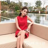 2018夏季新款韓版無袖直筒裙小個子ins超火紅色連衣裙女高腰禮服