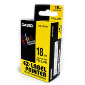 CASIO卡西歐 KL-170 專用標籤紙色帶18mm單卷裝黃底黑 XR-18YW1
