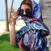 春季旅游百搭民族風披肩女夏海邊防曬沙灘巾兩用圍巾長款超大絲巾