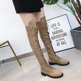 膝上靴 爆款歐美外貿wish新款平底過膝馬丁靴 圓頭長筒靴 43大碼女靴現貨