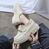 復古皮鞋一腳蹬小皮鞋日系女jk2021新款學生韓版百搭英倫學院高跟女鞋子潮 JUST M